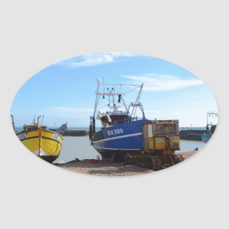 Beached Fishing Boats Oval Sticker