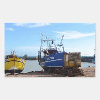 Beached Fishing Boats Rectangular Sticker