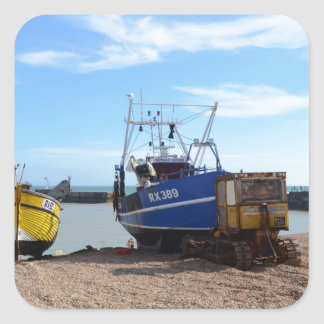Beached Fishing Boats Square Sticker