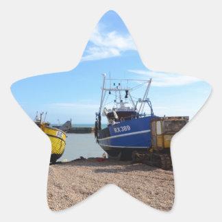 Beached Fishing Boats Star Sticker