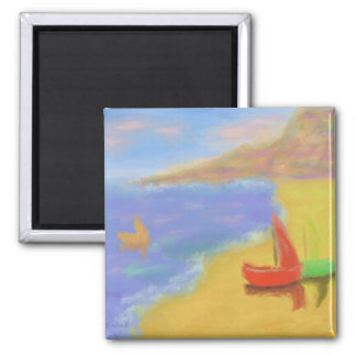 Beached Sail Boats 2 Inch Square Magnet