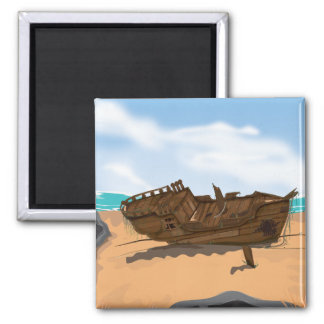 Beached Shipwreck 2 Inch Square Magnet