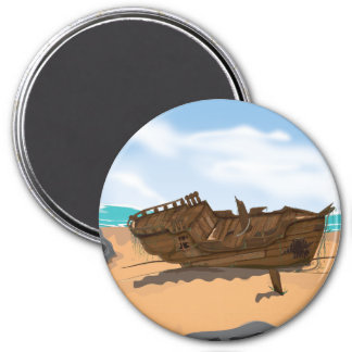Beached Shipwreck 3 Inch Round Magnet