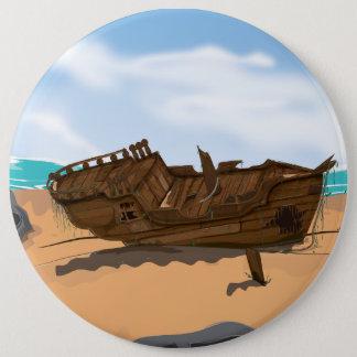 Beached Shipwreck Pinback Button
