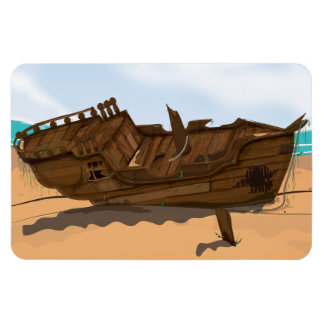 Beached Shipwreck Rectangular Photo Magnet