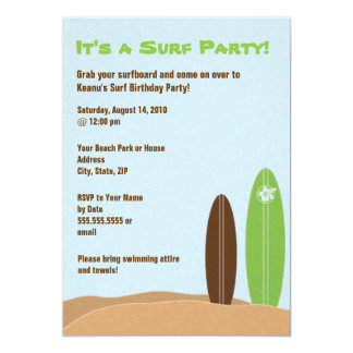 Beached Surfboards Surf Party Invitation