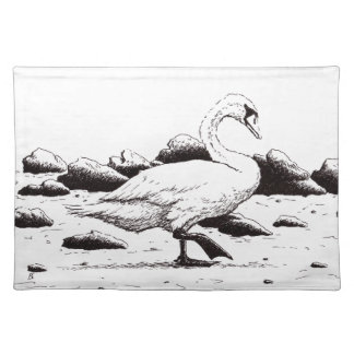beached swan pen & ink bird drawing cloth placemat