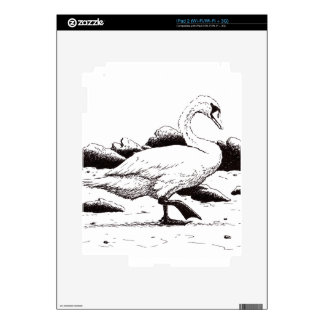 beached swan pen & ink bird drawing iPad 2 decal