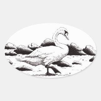 beached swan pen & ink bird drawing oval sticker