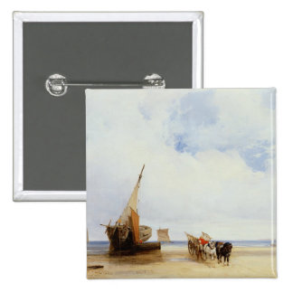 Beached Vessels and a Wagon near Trouville, c.1825 2 Inch Square Button