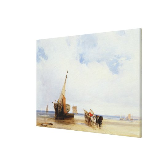 Beached Vessels and a Wagon near Trouville, c.1825 Canvas Print