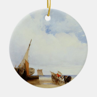 Beached Vessels and a Wagon near Trouville, c.1825 Ceramic Ornament