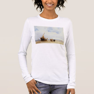 Beached Vessels and a Wagon near Trouville, c.1825 Long Sleeve T-Shirt