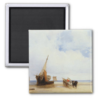 Beached Vessels and a Wagon near Trouville, c.1825 Magnet