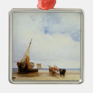 Beached Vessels and a Wagon near Trouville, c.1825 Metal Ornament
