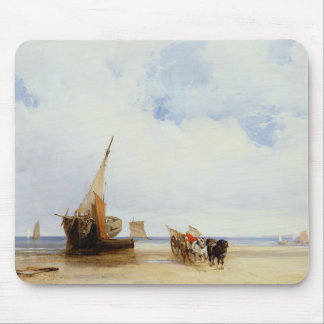 Beached Vessels and a Wagon near Trouville, c.1825 Mouse Pad