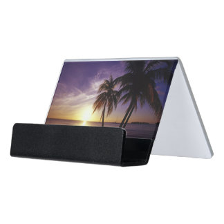 Beaches at Negril, Jamaica Desk Business Card Holder
