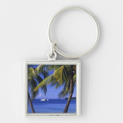 Beaches at Negril, Jamaica Silver-Colored Square Keychain