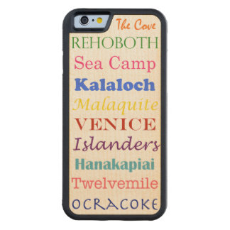 beaches list word multi vacation summer colorful carved® maple iPhone 6 bumper case