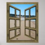 open french doors, beach, sand, surf, ocean,