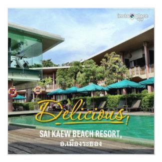 "Beachfront luxury resort in Koh Samet holiday card 5.25"" Square Invitation Card"