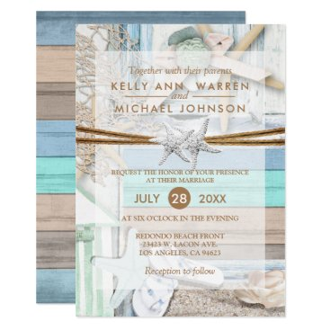 Beach Themed Beachfront Wedding Card