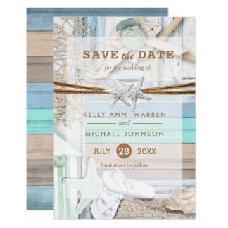Beachfront Wedding - Save the Date Card