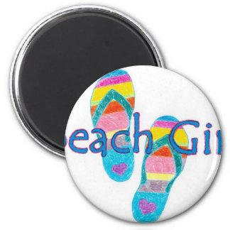 beachgirl 2 inch round magnet