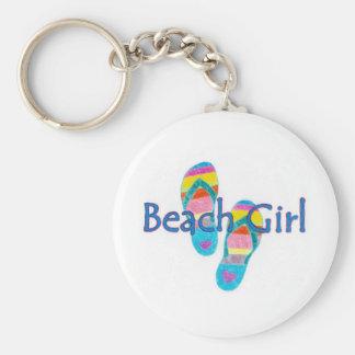 beachgirl basic round button keychain