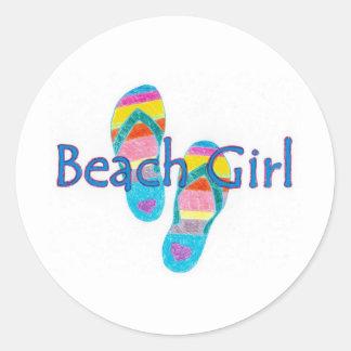 beachgirl classic round sticker