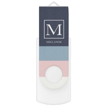 colorjungle Beachhouse Color Bands Custom Name Pink Flash Drive