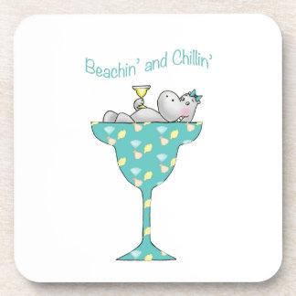 Beachin' and chillin' drink coaster