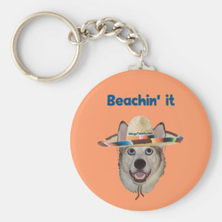 Beachin él perro de la playa llavero redondo tipo pin