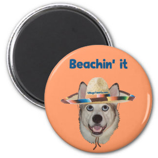 Beachin It Beach Dog Refrigerator Magnets