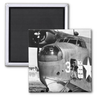 Beaching crew clings to bow line of PBM_War image Magnet