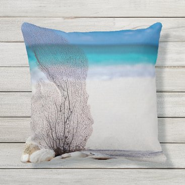 Beach Themed Beaching It Coral Throw Pillow