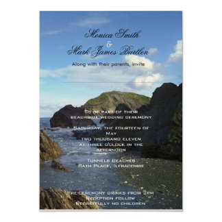 Beachside wedding ceremony card