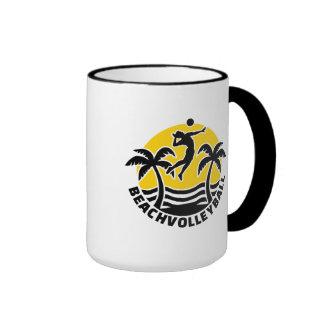 Beachvolleyball palms sun coffee mug