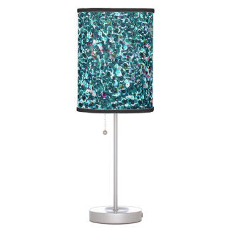 Beachy Aqua Blue Faux Sequins Desk Lamp