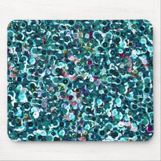 Beachy Aqua Blue Faux Sequins Mouse Pad