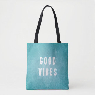 Beachy Aqua Blue/Green Distressed Print Good Vibes Tote Bag