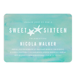 Beachy Aqua Watercolor & Starfish Sweet Sixteen Card
