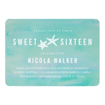 Beach Themed Beachy Aqua Watercolor & Starfish Sweet Sixteen Card