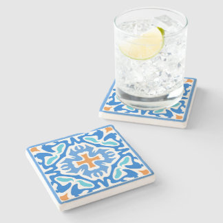 Beachy Blue Abstract with Orange Accent Stone Coaster