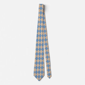 Beachy Blue and Tan Harlequin Neck Tie