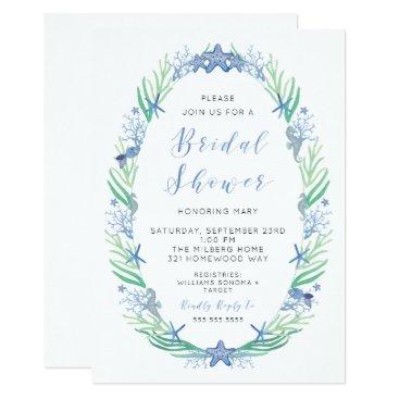 Beach Themed Beachy Bridal Shower Invitation
