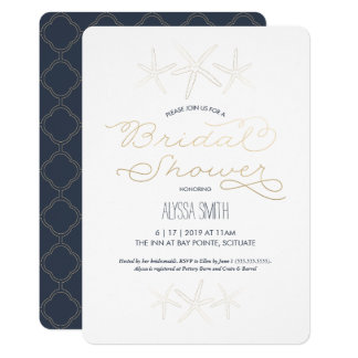 Beachy Bridal Shower Invitation - Starfish, Gold