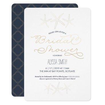 Beach Themed Beachy Bridal Shower Invitation - Starfish, Gold
