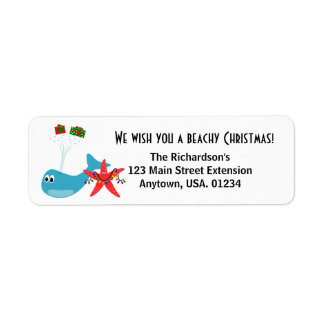 Beachy Christmas and Sandy New Year Holiday Label