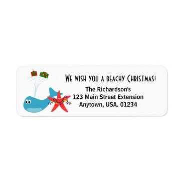 Beach Themed Beachy Christmas and Sandy New Year Holiday Label